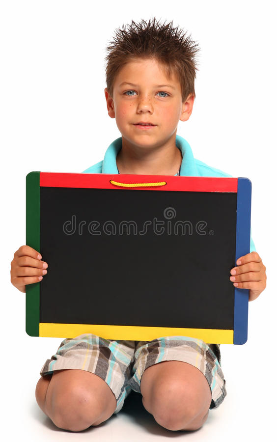 Happy Boy with Chalkboard stock photography