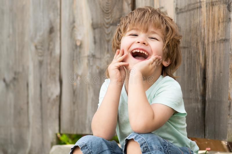 Happy boy. Cheerful childrens smile. Childrens happiness. A child sits in the garden near a wooden fence. stock photos