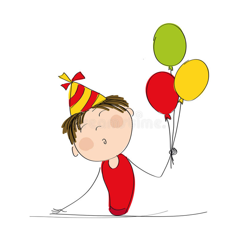 Happy boy with colorful balloons and party hat stock illustration