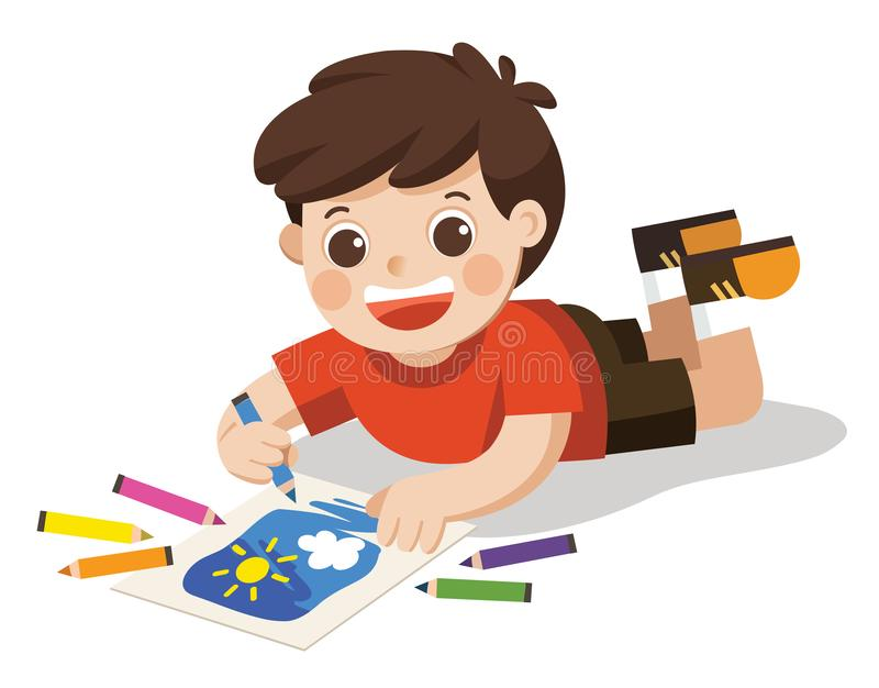 Happy Boy draw pictures pencils and paints on floor.Isolated vector stock illustration