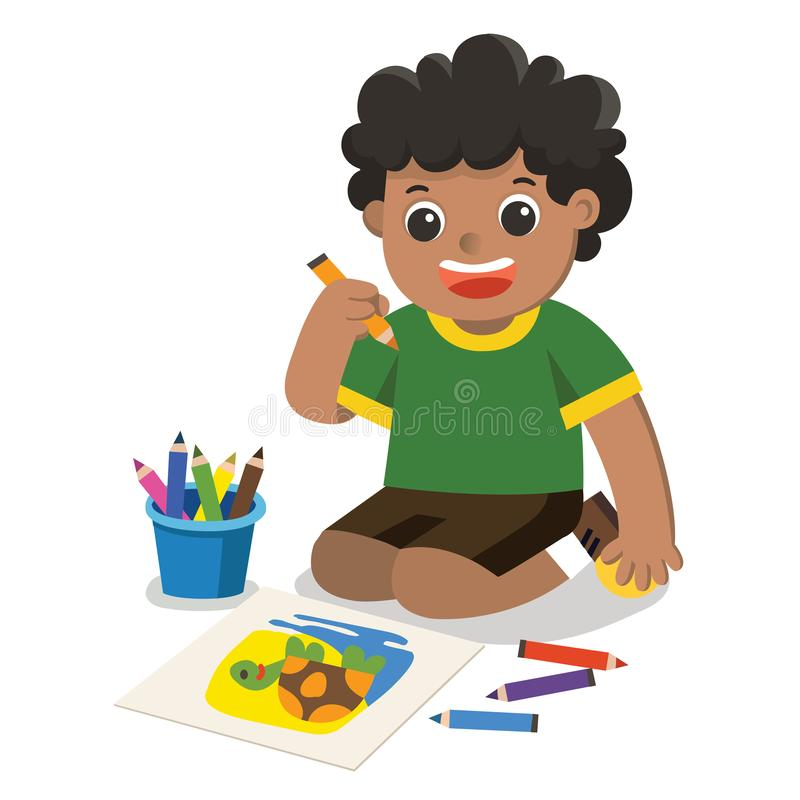 Happy Boy draw pictures pencils and paints on floor.Isolated vector. Back to school, Happy Boy draw pictures pencils and paints on floor.Isolated vector royalty free illustration