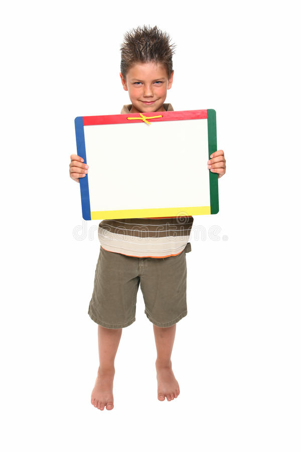 Happy Boy With Dry Erase Board Royalty Free Stock Images