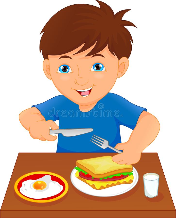 Happy boy eating at the table vector illustration
