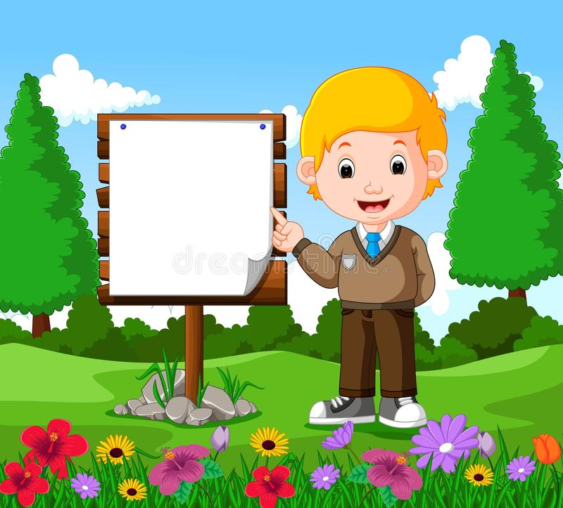 Happy boy with empty signboard. Illustration of happy boy with empty signboard royalty free illustration