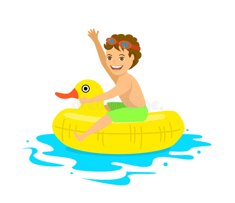 Happy Boy Floating On Inflatable Duck Inner Ring Tube