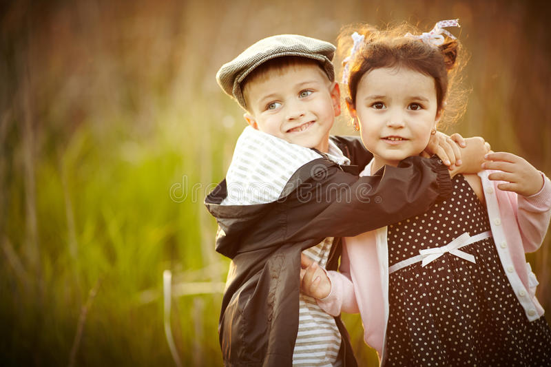 Happy boy and girl stock photo