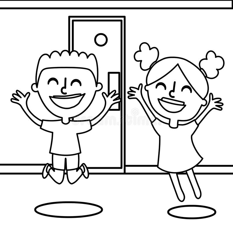 Happy boy and girl coloring page royalty free illustration