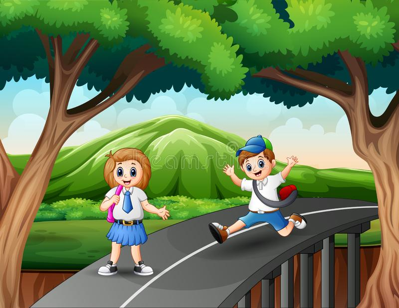 Happy boy and girl going home after school royalty free illustration