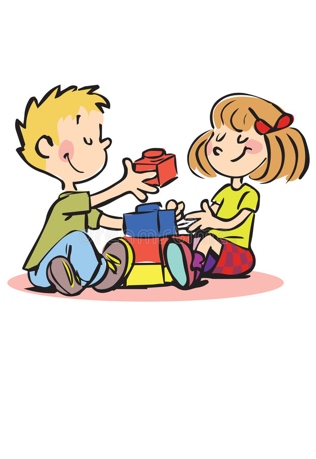Happy boy and girl playing with bricks royalty free illustration