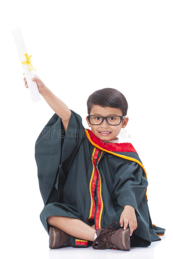 Happy Boy In Graduation Suit Stock Photo - Image of little, gown ...