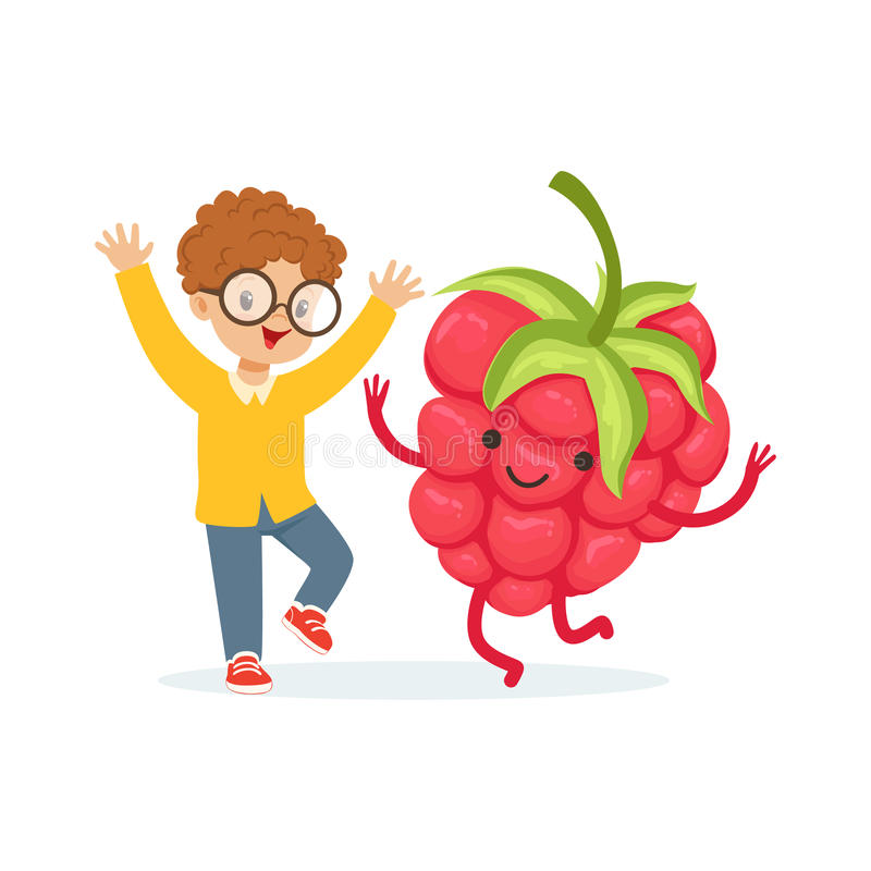 Happy boy having fun with fresh smiling raspberry, healthy food for kids colorful characters vector Illustration. On a white background vector illustration