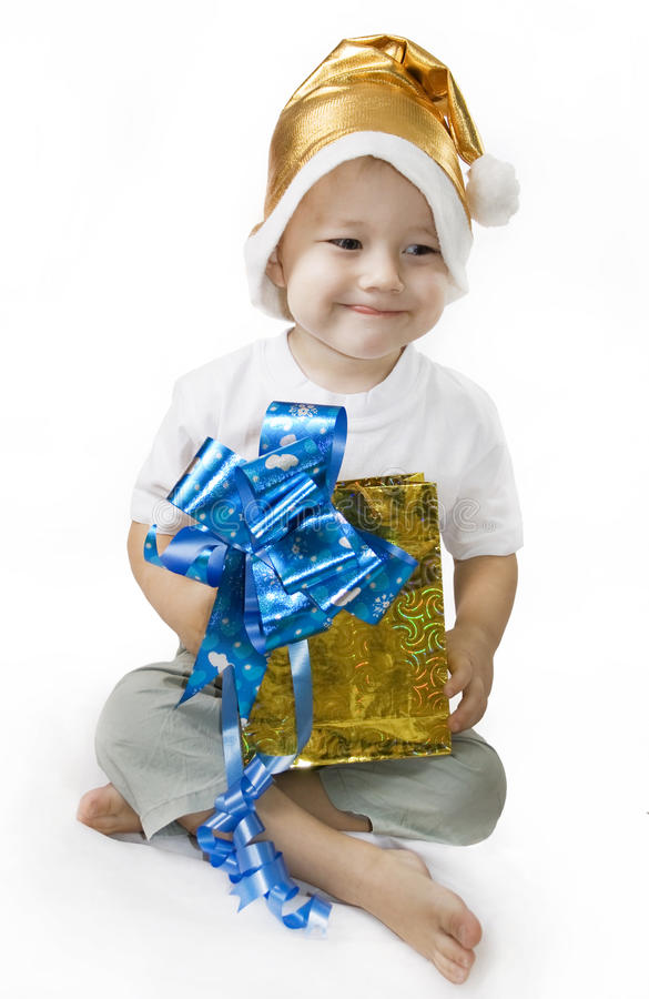 Download Happy Boy holding a gift stock photo. Image of santa - 12097396