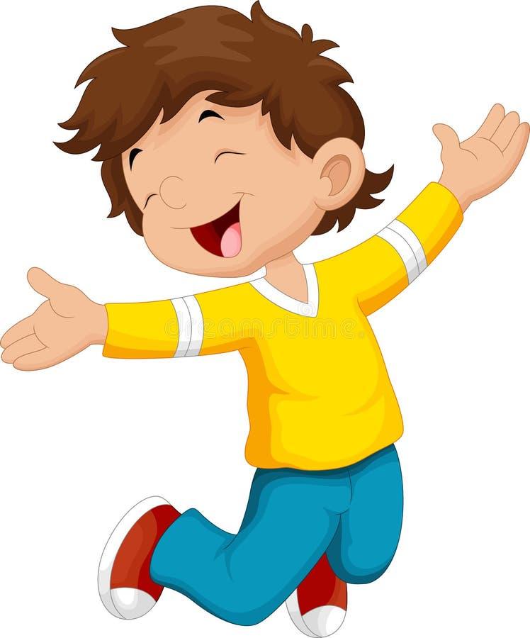 Happy boy and jump stock illustration