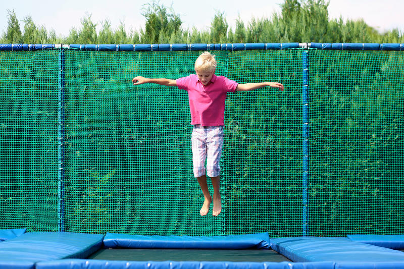 Happy Boy Jumping Trampoline Stock Image Image of