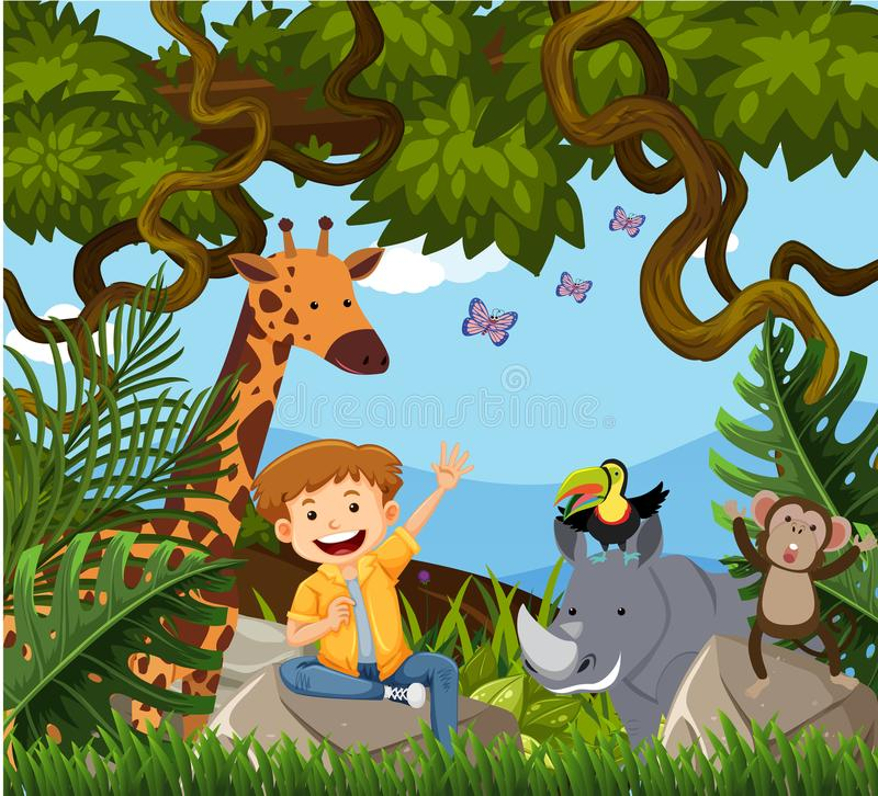 A Happy Boy in Jungle stock illustration