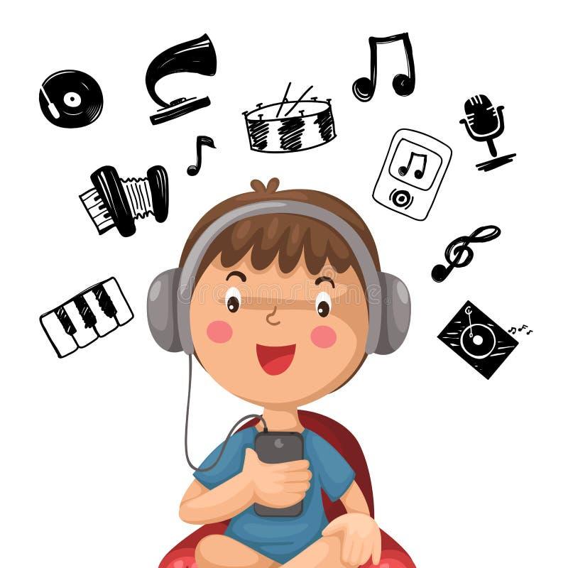 Happy boy listening to music royalty free illustration