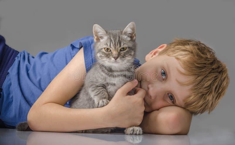 Happy boy with little kitten. The happy boy with little kitten royalty free stock image