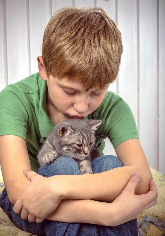 Happy boy with little kitten stock image
