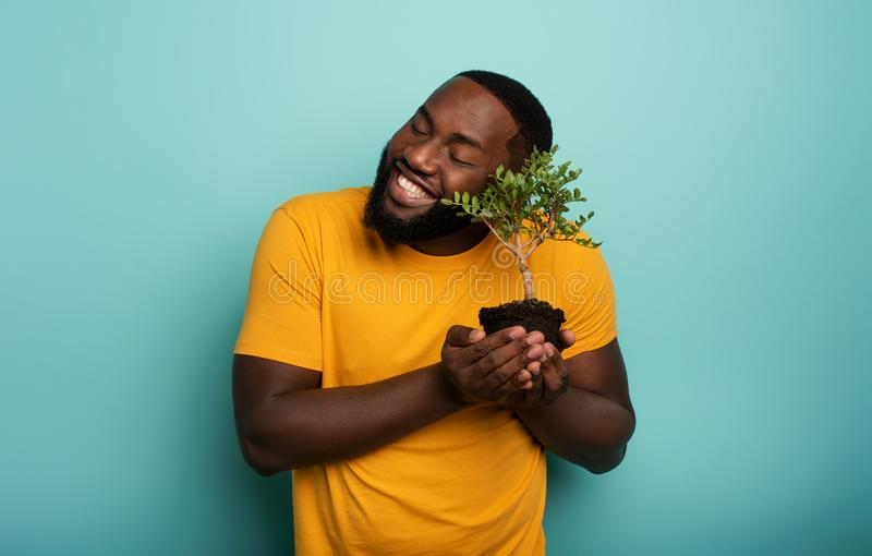 Happy boy loves a small tree ready to be planted. Concept of forestation. Happy black boy loves a small tree ready to be planted. Concept of forestation stock photo