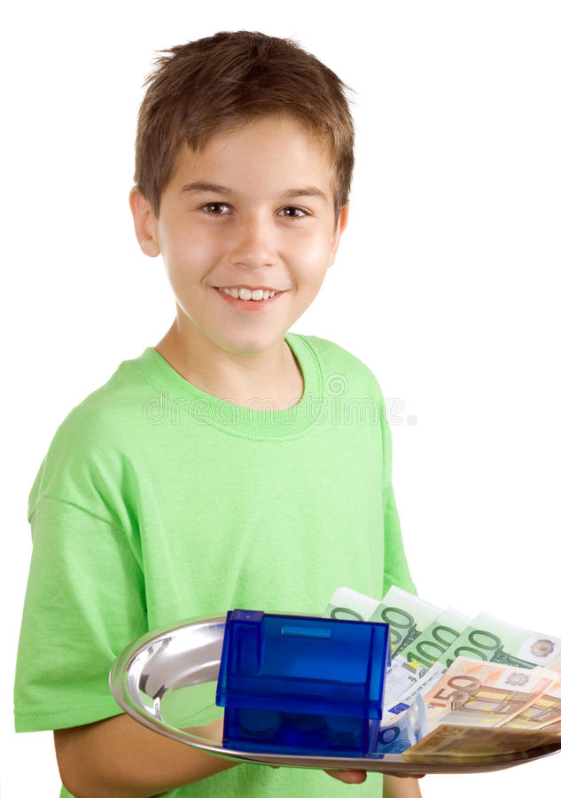 Download Happy Boy With Money And House On The Tray Stock Image - Image: 15382027