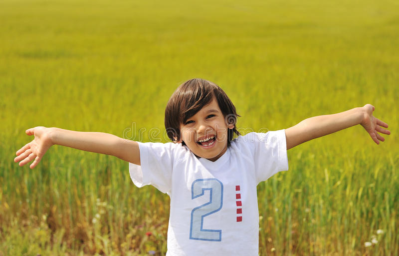 Happy Boy With Open Arms Royalty Free Stock Photo