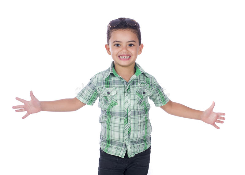 Happy Boy With Open Arms stock photos