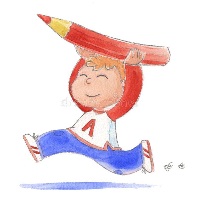 Happy boy with pencil. Happy kid running with a big red pencil in hands. Illustration hand made with watercolors
