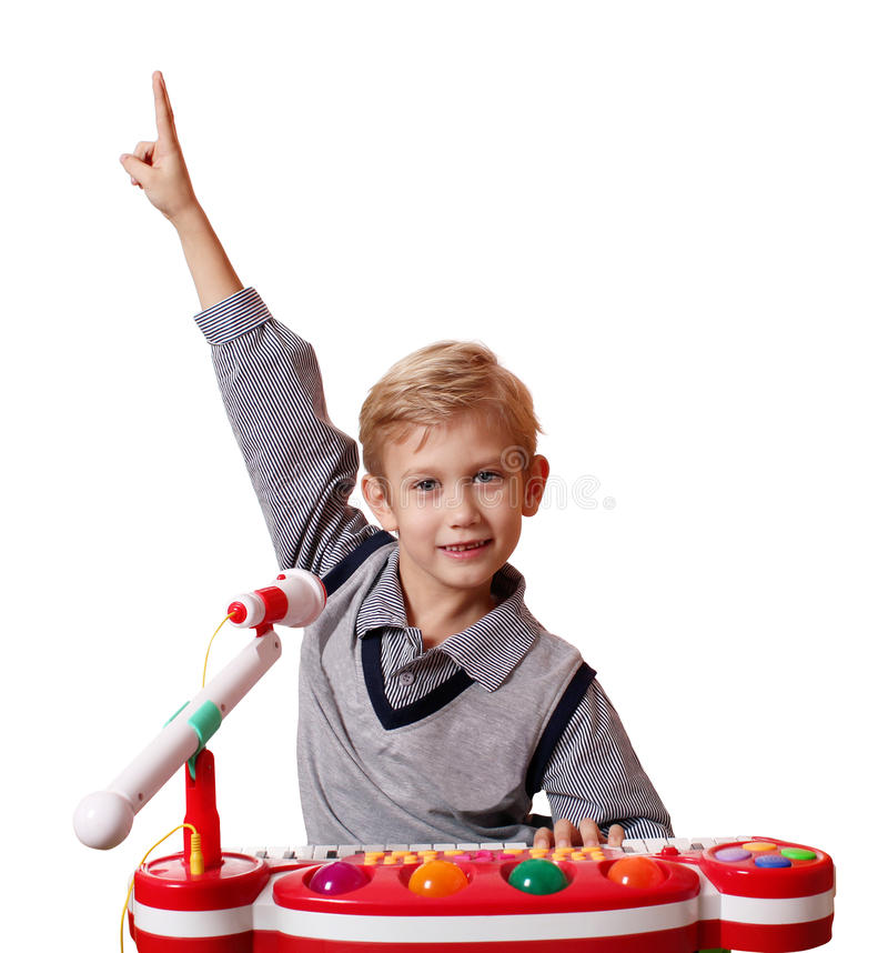 Happy Boy Play Music Royalty Free Stock Image