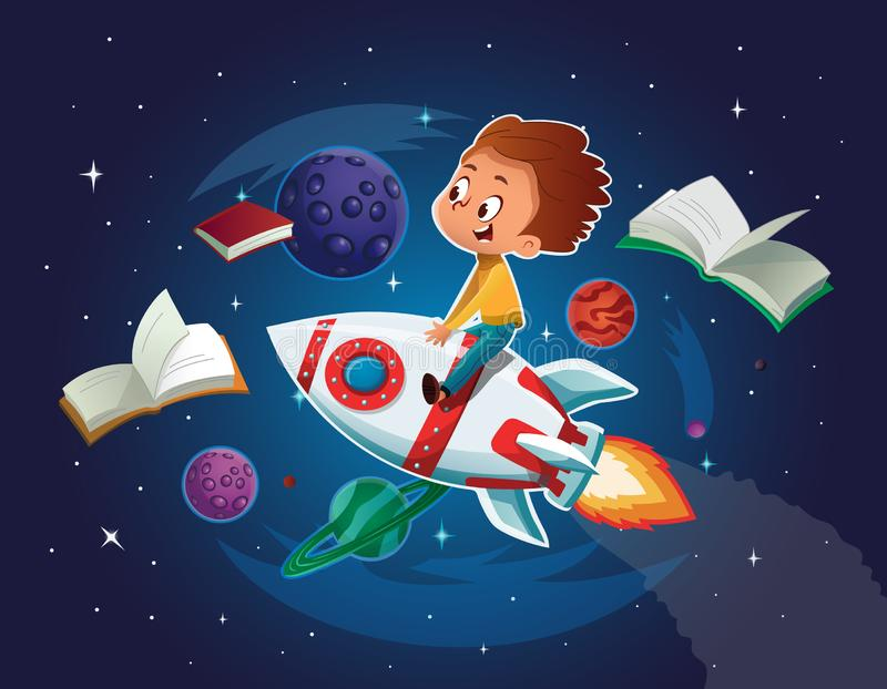 Happy Boy playing and imagine himself in space driving an toy space rocket. Books, planets, rocket and stars in a stock illustration