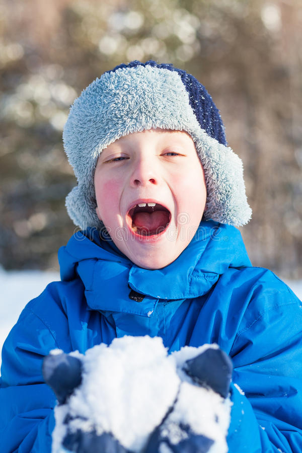Download Happy Boy Is Playing With Snow Stock Photo - Image: 28902204