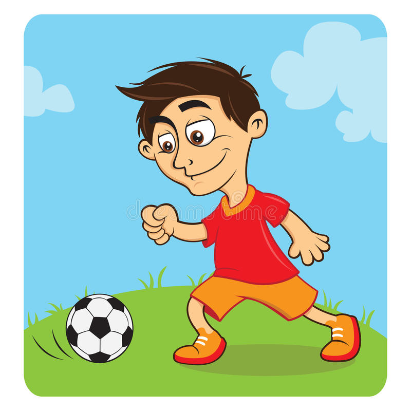 Happy Boy Playing Soccer Royalty Free Stock Photography