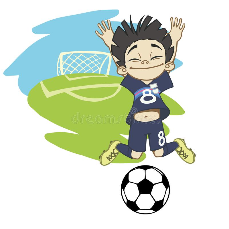 A cartoon soccer player is playing ball in a stadium in uniform Japan. Happy boy playing with a soccer ball on the background of the goal vector illustration