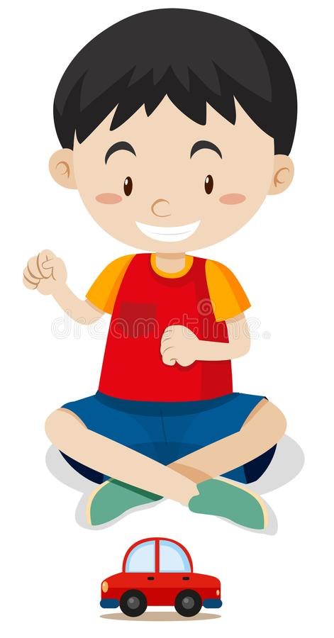 Happy boy playing with toy car. Illustration stock illustration