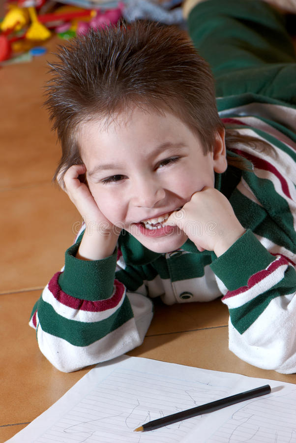 Happy boy of preschool age royalty free stock photo