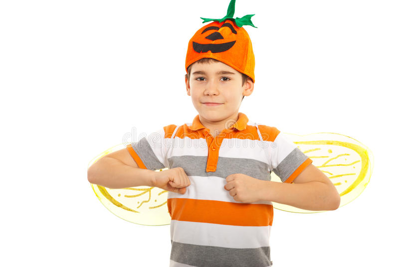 Download Happy boy with pumpkin hat stock photo. Image of portrait - 27545578
