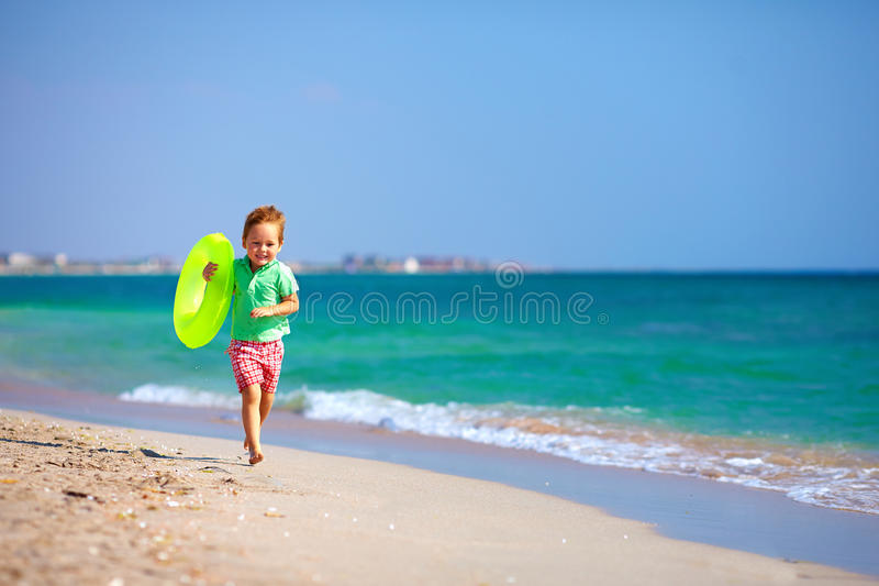 Download Happy Boy Running The Beach, Expressing Delight Stock Image - Image: 34121259