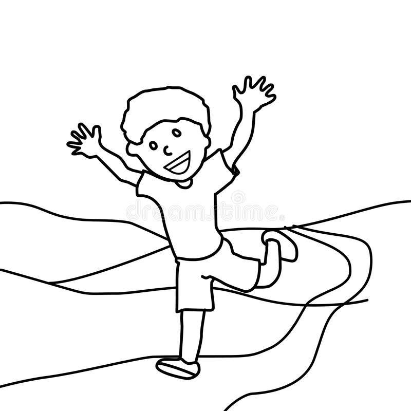 Happy Boy Running Coloring Page Stock Illustration