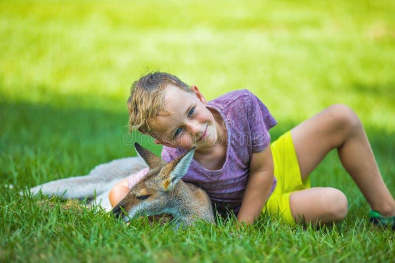 Happy boy sitting on the ground and cuddling australian kangaroo royalty free stock photography