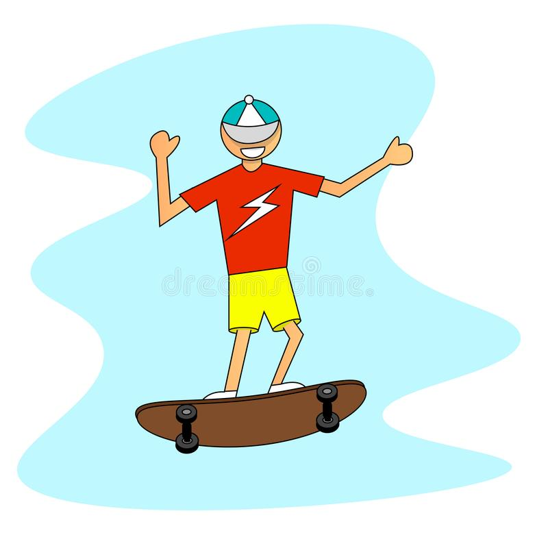 Happy Boy with a Skateboard in a Cap Jumping royalty free illustration