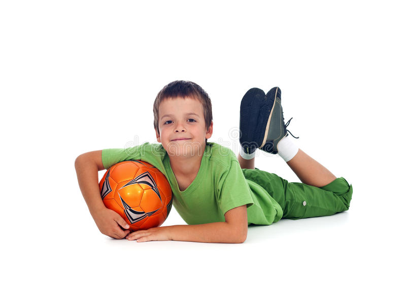 Happy boy with soccer ball stock photos