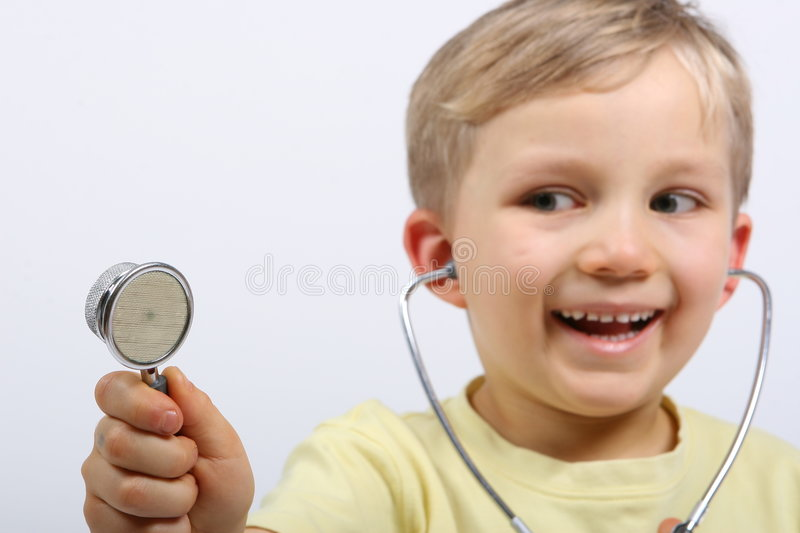 Happy Boy With Stethoscope royalty free stock image