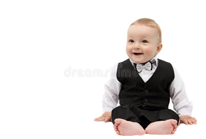 Happy boy in suit stock image