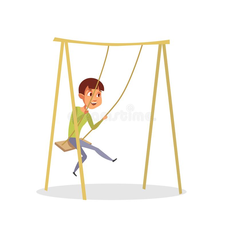 Happy boy swinging flat vector illustration isolated on white background stock illustration