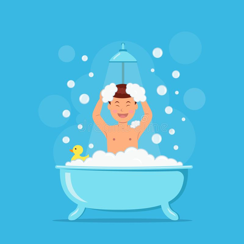 Free Happy Boy Taking Shower. Child In Bath With Soap Bubbles And Duck On Blue Background. Vector Illustration In Flat Style Royalty Free Stock Photo - 128227275