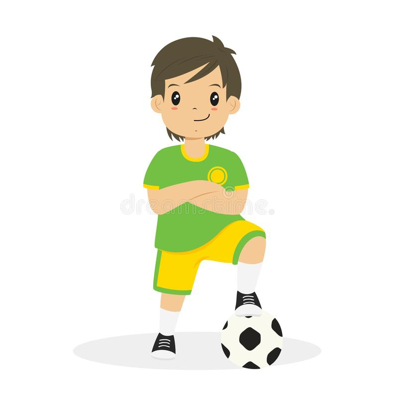 Boy in Green and Yellow Soccer Jersey Cartoon Vector royalty free illustration