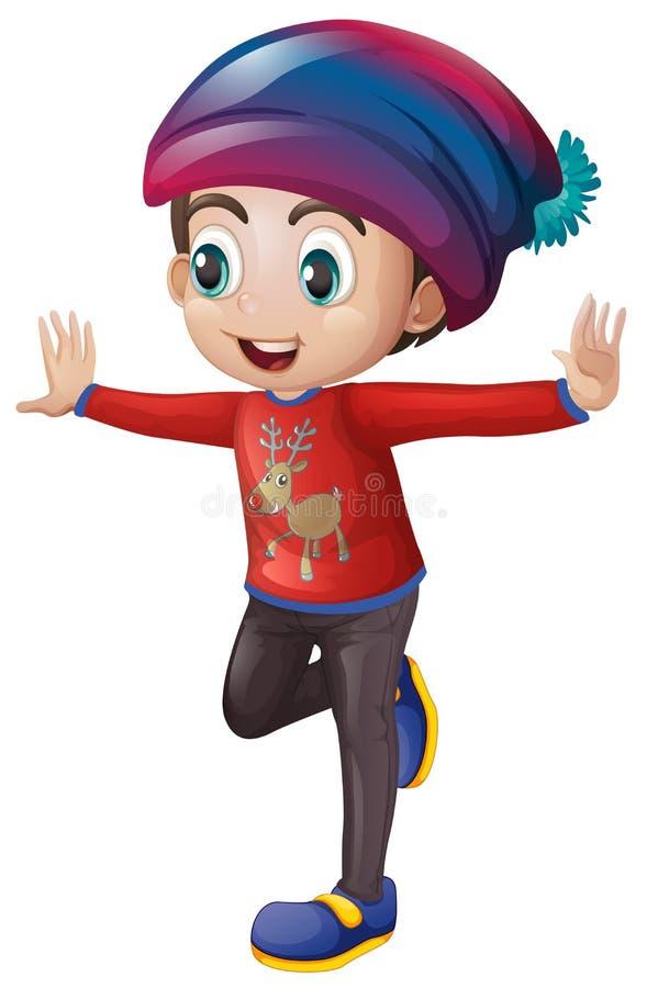 Happy boy in winter clothes. Illustration vector illustration