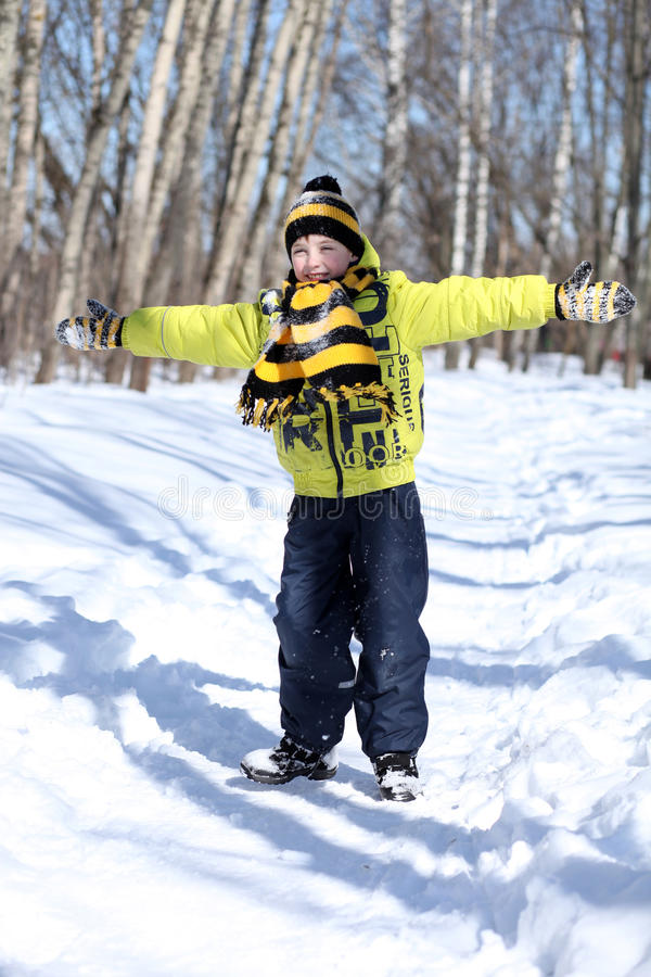 Happy boy in a winter park royalty free stock photography
