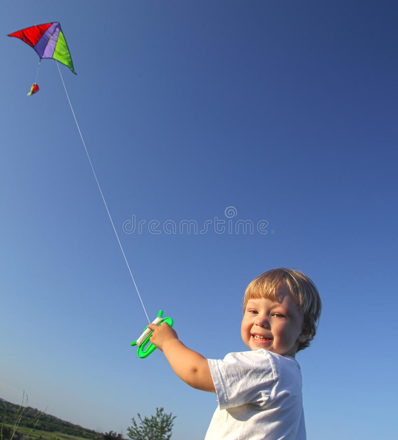 Free Happy Boy With Kite Stock Photography - 50027072