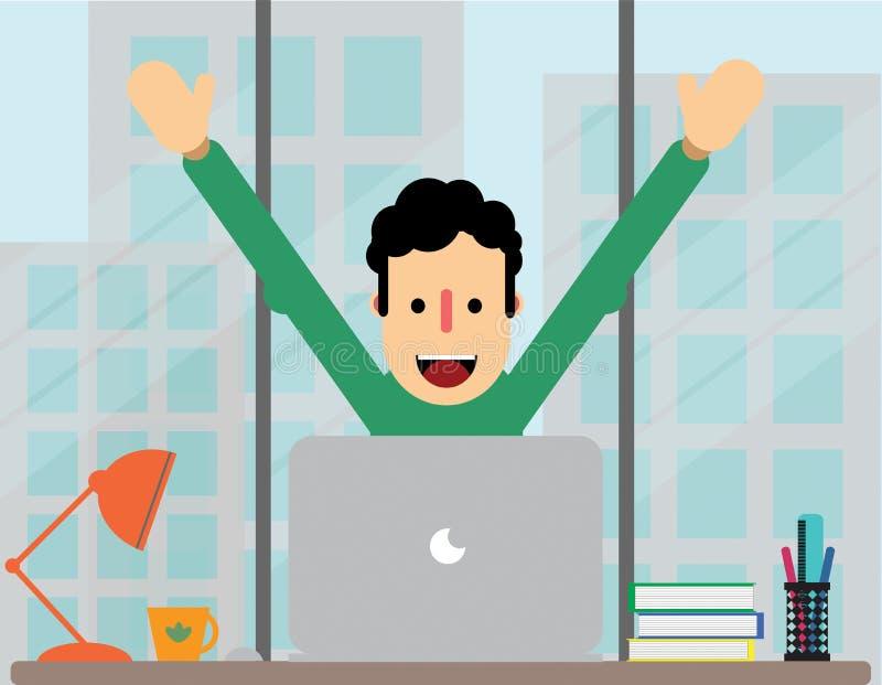 Happy boy at work royalty free illustration