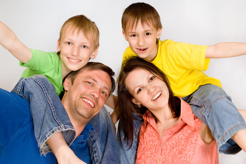 Happy Boys With Family Stock Image